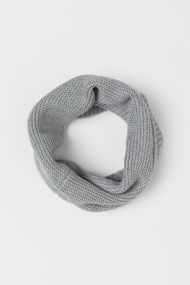 Garter-stitched tube scarf - Light grey marl - Kids | H&M GB