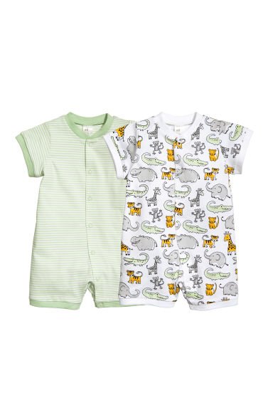 2-pack all-in-one pyjamas - White/Jungle animals - Kids | H&M CN