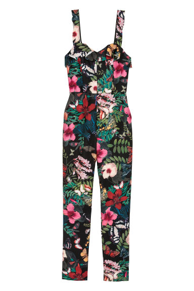 Sleeveless jumpsuit - Black/Floral - Ladies | H&M