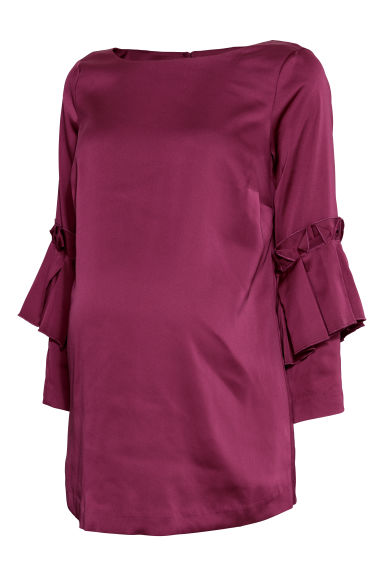 MAMA Top with flounces - Magenta - Ladies | H&M