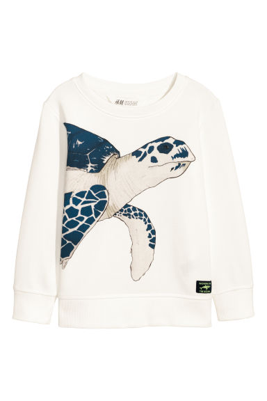 Sweat avec impression - Blanc/tortue - ENFANT | H&M FR