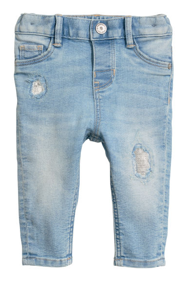 Jeans with sequins - Light denim blue - Kids | H&M