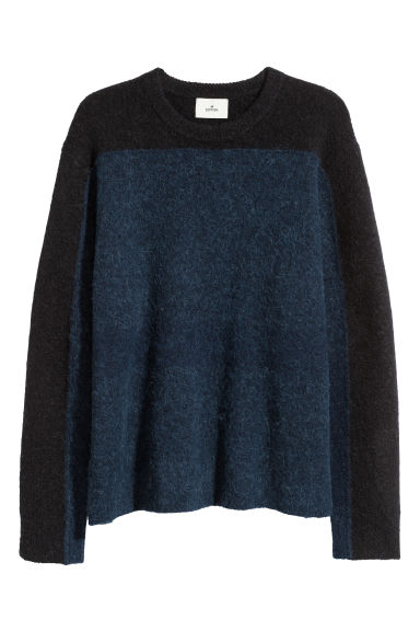 Alpaca-blend jumper - Dark blue/Black - Men | H&M