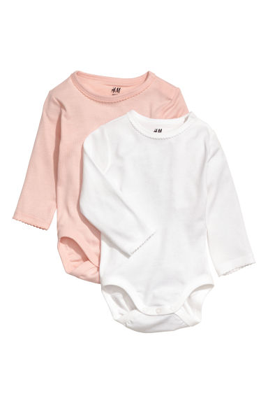 2-pack long-sleeved bodysuits - Powder pink - Kids | H&M CN
