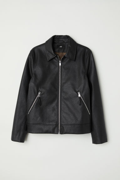 Imitation leather jacket - Black -  | H&M CN