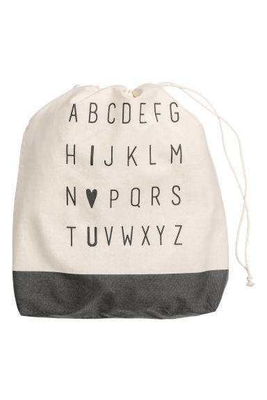 Large storage bag - Natural white/Anthracite grey -  | H&M IE
