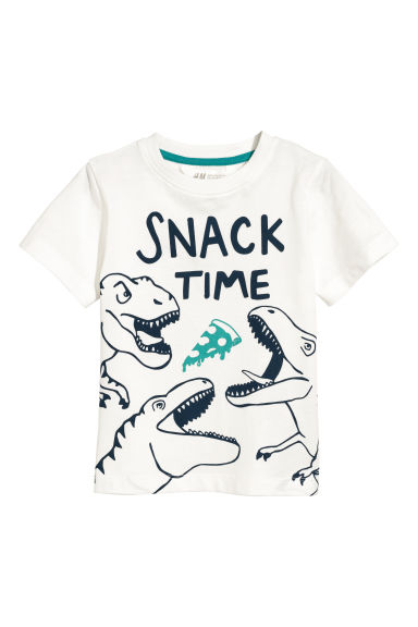 Camiseta con estampado - Blanco natural/Snack time -  | H&M ES