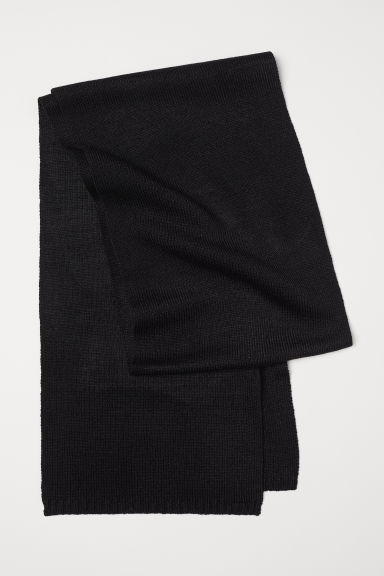 Ribbed scarf - Black -  | H&M