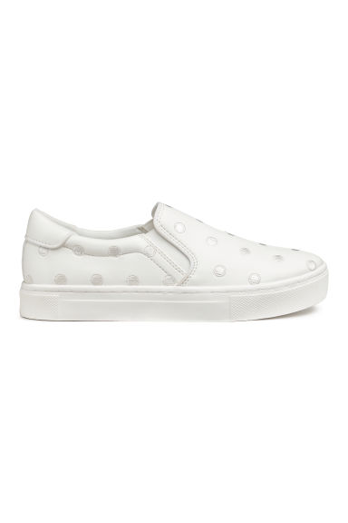 Slip-on trainers - White/Embroidery - Ladies | H&M