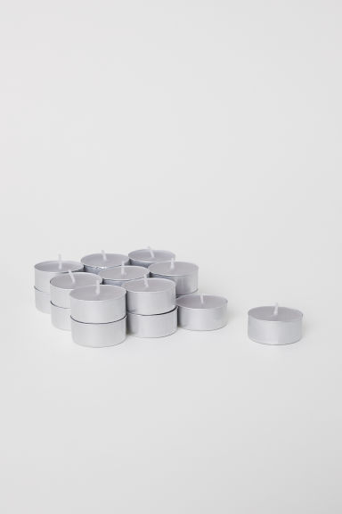 18-pack scented candles - Light grey/Cotton - Home All | H&M IE