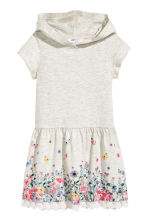 Jersey dress with a hood - Light grey/Flowers - Kids | H&M CN 2