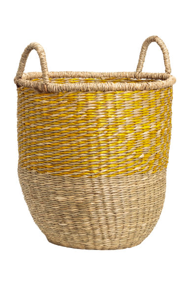 Cesta en junco trenzado - Natural/Amarillo - HOME | H&M ES