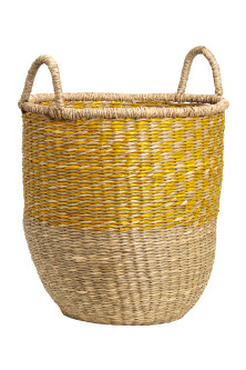 Braided seagrass basket