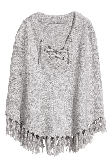 Knitted poncho - Light grey -  | H&M CN