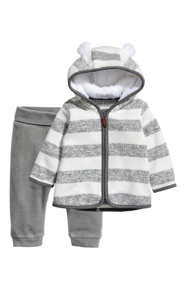 Fleece jacket and trousers - White/Grey striped - Kids | H&M
