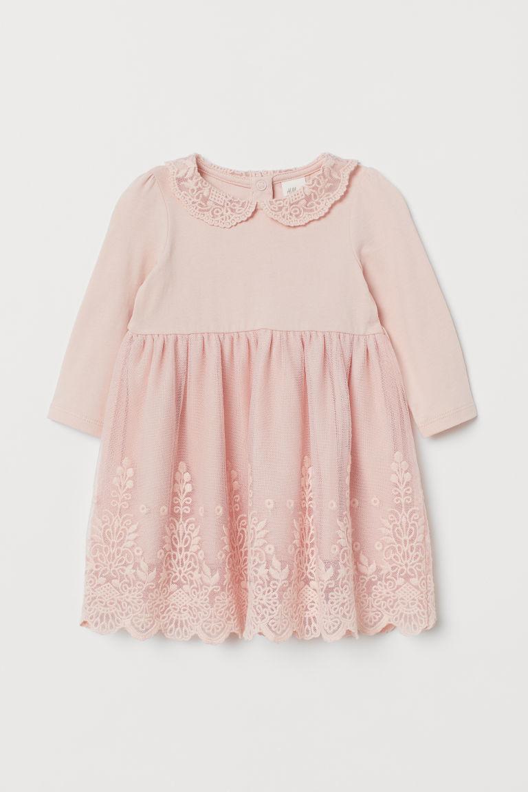 Lace-covered dress - Light pink - Kids   H&M GB