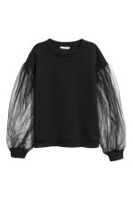Sweatshirt with tulle sleeves - Black - Ladies | H&M 2
