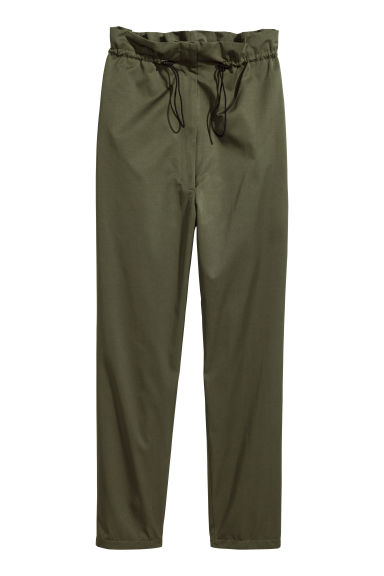 Wide drawstring trousers - Khaki green - Ladies | H&M CN