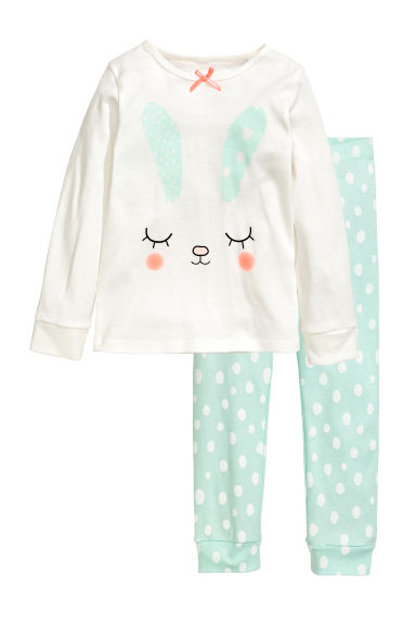 Jersey pyjamas - White/Mint green - Kids | H&M