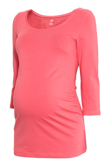 MAMA Cotton jersey top - Coral pink - Ladies | H&M