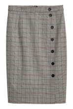 Knee-length skirt - Beige/Checked - Ladies | H&M IE 1