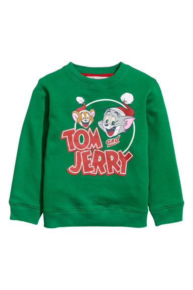 Printed sweatshirt - Bright green/Tom and Jerry - Kids | H&M GB