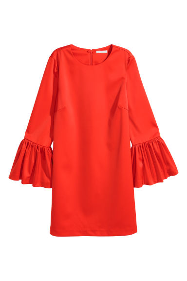Flounce-sleeved dress - Bright red - Ladies | H&M