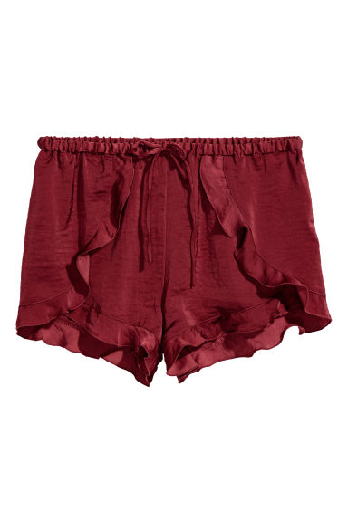 Short satin shorts - Burgundy - Ladies | H&M CN