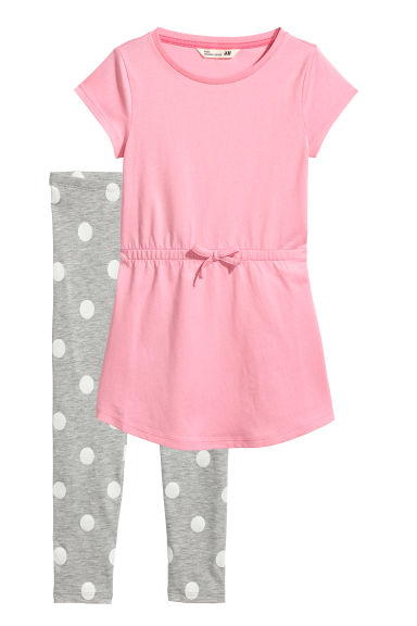 Dress and leggings - Pink/Spotted - Kids | H&M CN
