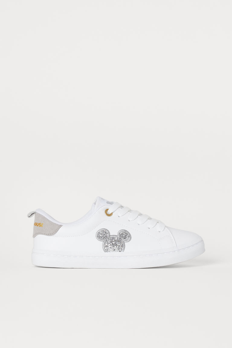 Trainers with glitter - White/Mickey Mouse - Kids | H&M GB