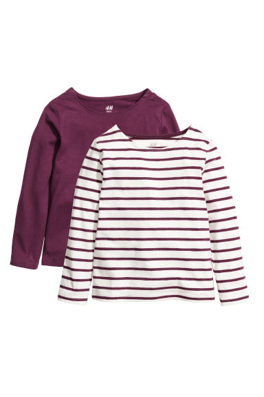 2-pack jersey tops - Purple/Striped - Kids | H&M