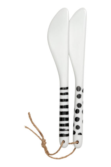 2-pack porcelain butter knives - White/Patterned -  | H&M IE