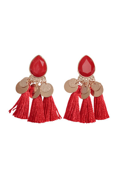 Tasselled earrings - Red - Ladies | H&M CN
