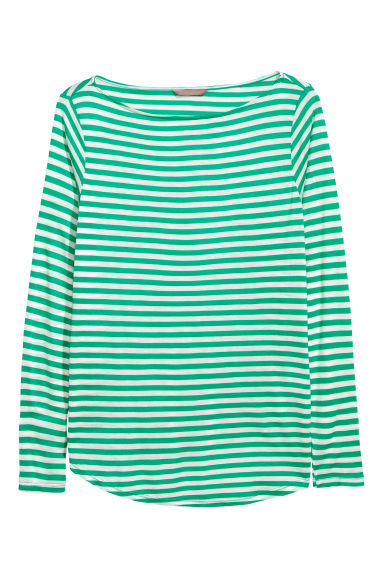 H&M+ Long-sleeved top - Green/Striped - Ladies | H&M
