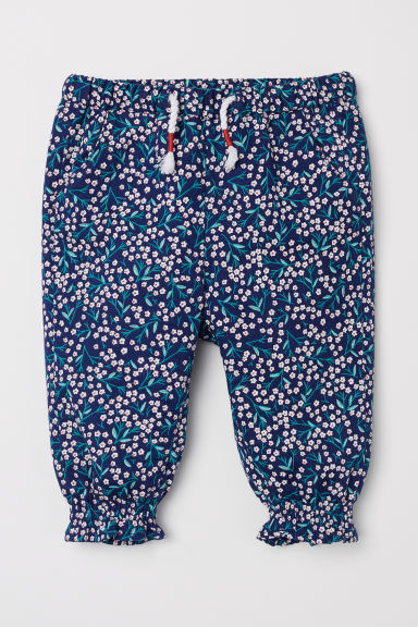 Patterned pull-on trousers - Dark blue/Floral - Kids | H&M CN