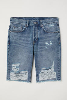 Straight Long Denim Shorts