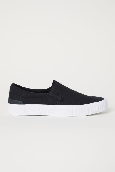 Slip-on canvas trainers - Black - Men | H&M CN
