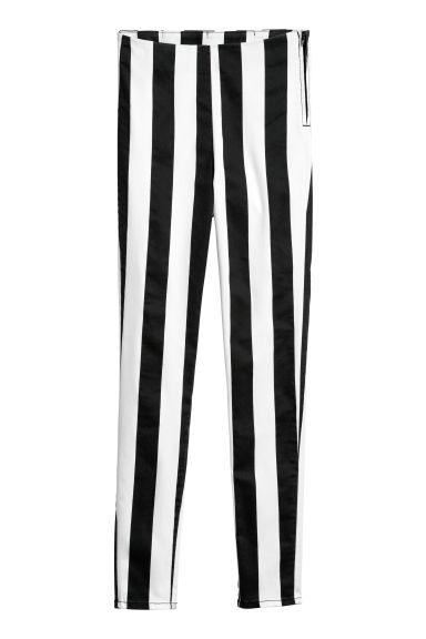Pantaloni in twill - Nero/bianco righe - DONNA | H&M IT