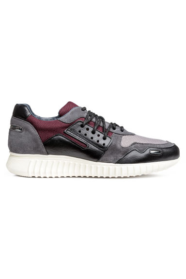Suede and leather trainers - Burgundy/Grey - Men | H&M