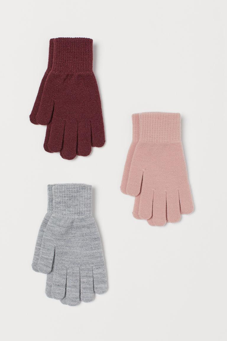 3-pack gloves - Dark red/Pink/Grey - Kids | H&M GB