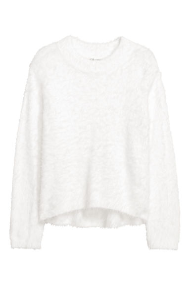 Pull en maille duveteuse - Blanc -  | H&M BE