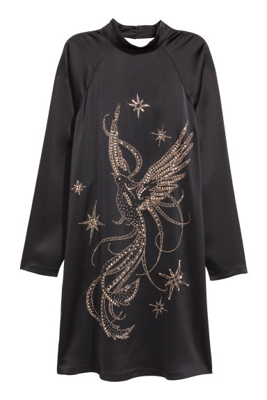 Satin dress - Black/Sparkly stones - Ladies | H&M