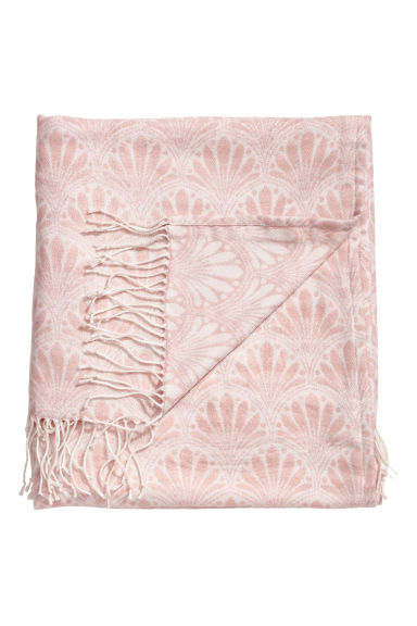Jacquard-weave blanket - Powder pink - Home All | H&M GB