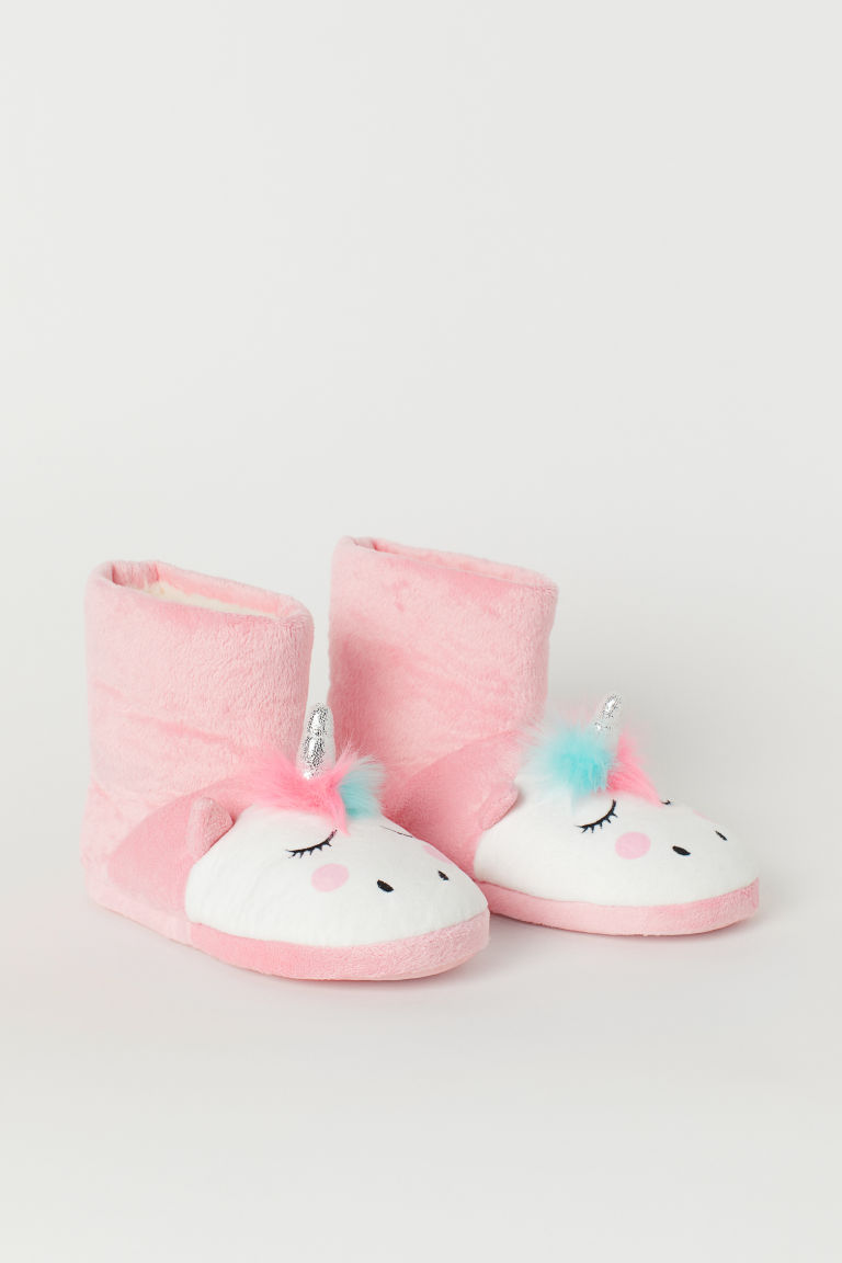 Padded slippers - Pink/Unicorn - Kids | H&M GB