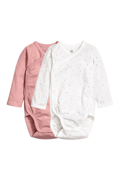 2-pack long-sleeved bodysuits - Powder pink/Spotted - Kids | H&M CN