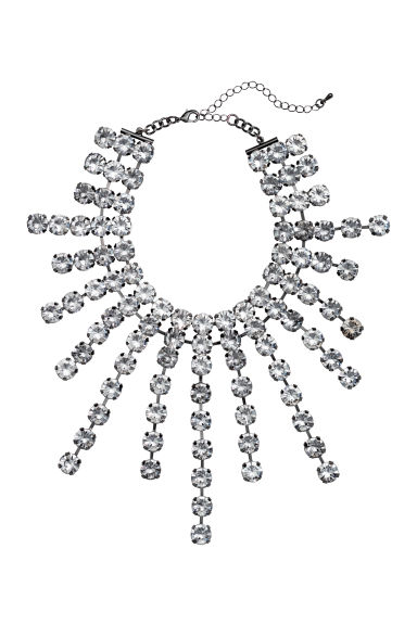 Grand collier avec strass - Gris/transparent - FEMME | H&M FR