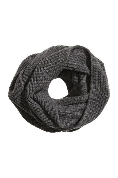 Rib-knit tube scarf - Dark grey - Men | H&M