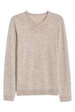 V-neck merino wool jumper - Beige marl - Men | H&M CN 2