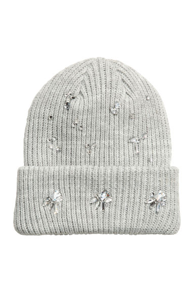 Hat with sparkly stones - Light grey -  | H&M CN