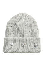 Hat with sparkly stones - Light grey - Ladies | H&M 1